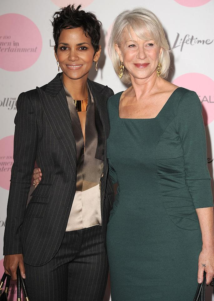 """<a href=""""http://movies.yahoo.com/movie/contributor/1800019906"""">Halle Berry</a> and <a href=""""http://movies.yahoo.com/movie/contributor/1800011130"""">Helen Mirren</a> attend the Hollywood Reporter's Power 100: Women In Entertainment Breakfast at Beverly Hills Hotel on December 7, 2010 in Beverly Hills, California."""