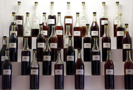 Bottles and rare samples of Cognac are displayed in a tasting room at the Remy Martin headquarters in Cognac, southwestern France, November 6, 2015.  REUTERS/Regis Duvignau