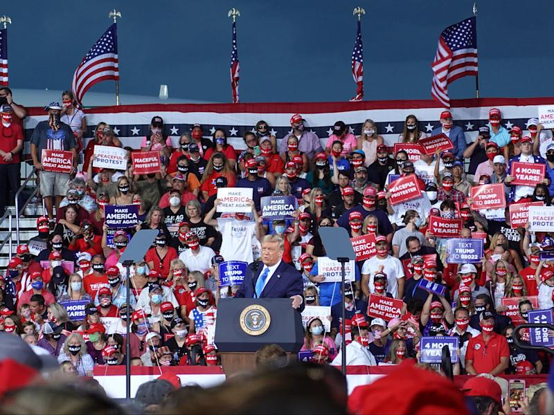 Donald Trump has been urged to cancel rallies in Wisconsin by the governor and doctors after the state saw a big surge in coronavirus cases. (Getty)