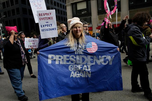 <p>People take part in the Women's March in Manhattan in New York City, Jan. 20, 2018. (Photo: Eduardo Munoz/Reuters) </p>