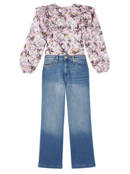 "<p>The wide leg jean in a cropped version makes for the most flattering fit. Pair it with a frilly top with voluminous sleeves to add a feminine flare.</p> <p><strong>Buy It!</strong> Happy x Nature ""Solara"" Top, $88; <a href=""https://www.happyxnature.com/solara-top/A-prod19450029/?An=1072896709&prodNo=7"">happyxnature.com</a>, Universal Thread High-Rise Wide Leg Cropped Jeans in Medium Wash, $29.99; <a href=""http://goto.target.com/c/249354/81938/2092?subId1=PEO%2CTheBiggestSpringDenimTrends%2Csball1271%2CSty%2CGal%2C7741115%2C202003%2CI&u=https%3A%2F%2Fwww.target.com%2Fp%2Fwomen-s-high-rise-wide-leg-cropped-jeans-universal-thread-cream%2F-%2FA-77615448%3Fpreselect%3D77430886%23lnk%3Dsametab"" target=""_blank"" rel=""nofollow"">target.com</a></p>"