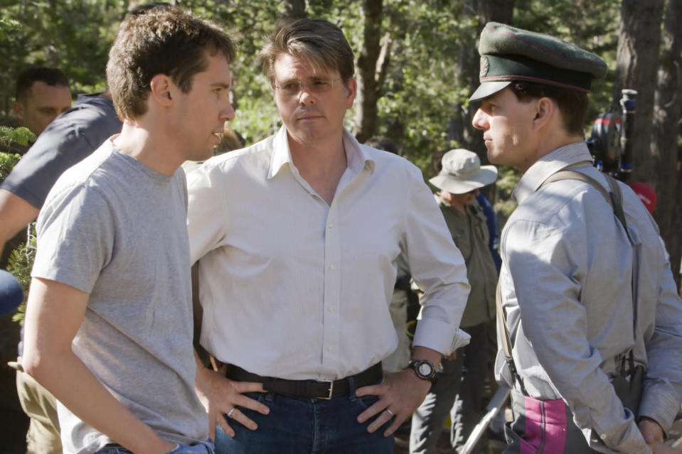 Bryan Singer, Christopher McQuarrie, and Tom Cruise on the set of <i>Valkyrie</i>. (United Artists)