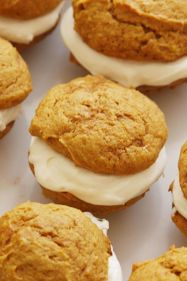 """<p>We're calling it: This is THE ultimate fall dessert.</p><p>Get the recipe from <a rel=""""nofollow"""" href=""""http://www.delish.com/cooking/recipes/a55263/pumpkin-whoopie-pies-recipe/"""">Delish</a>.</p>"""