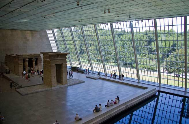 <p>Dating back to the time of Augustus Caesar, circa 15 BC, the Temple of Dendur was a gift from Egypt to the United States in 1965. The most stunning work in the Met's Egyptian collection, the temple occupies the bright and airy Sackler Wing, which has large skylights that illuminate the space and a pool of water meant to evoke the Nile. Up close, you can see ancient carvings and hieroglyphics on the temple's surface.</p>