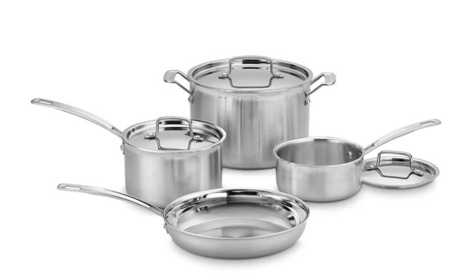 Cuisinart Stainless Steel Triple-Ply Pro Cookware Seven-Piece Cookware Set (Photo: Zulily)