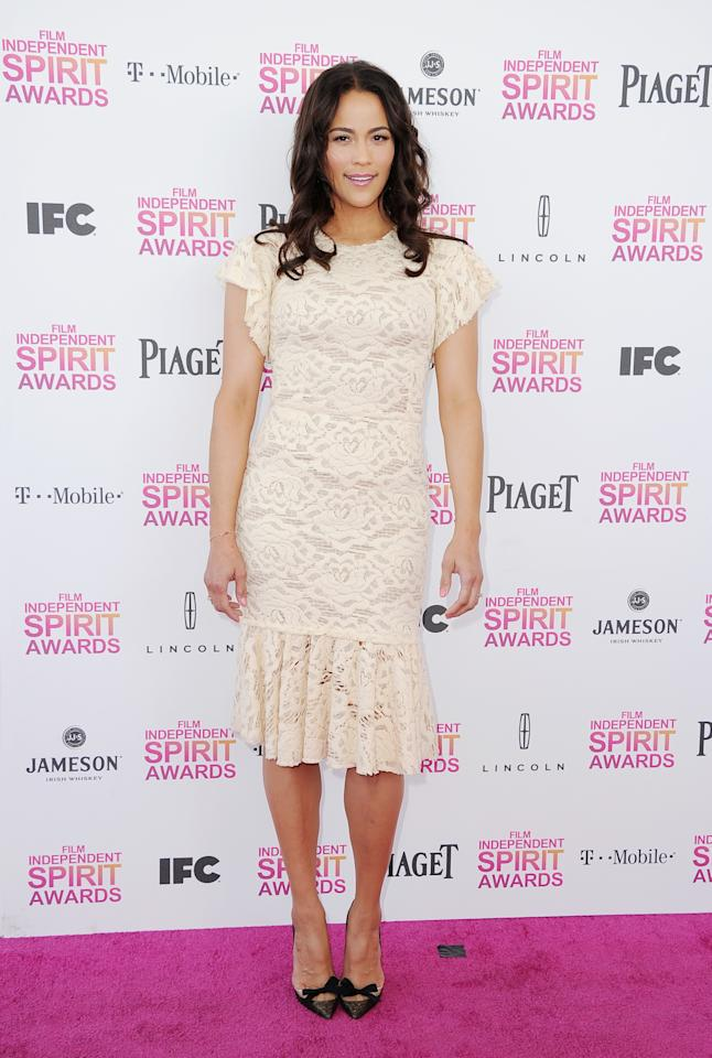 Paula Patton attends the 2013 Film Independent Spirit Awards at Santa Monica Beach on February 23, 2013 in Santa Monica, California.