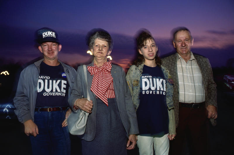 Supporters of former Ku Klux Klan grand wizard David Duke are seen in an undated photo. Duke ran for governor of Louisiana in 1991. (mark peterson via Getty Images)