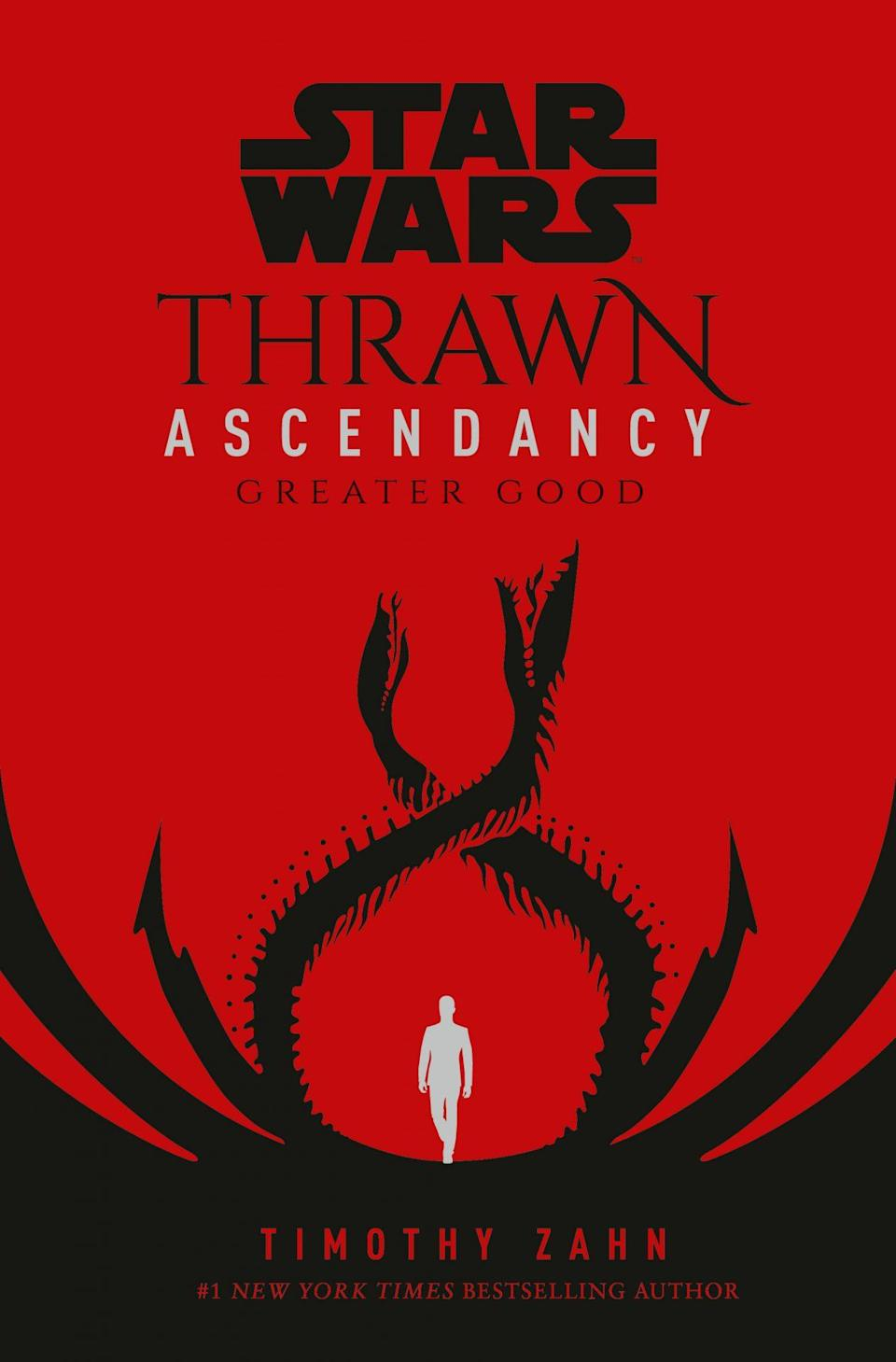 Thrawn Ascendancy Greater Good book cover has a white silhouette between two intertwined serpent-like creatures