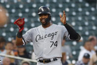 Chicago White Sox's Eloy Jimenez celebrates his triple in the second inning of the team's baseball game against the Detroit Tigers in Detroit, Friday, Sept. 20, 2019. (AP Photo/Paul Sancya)