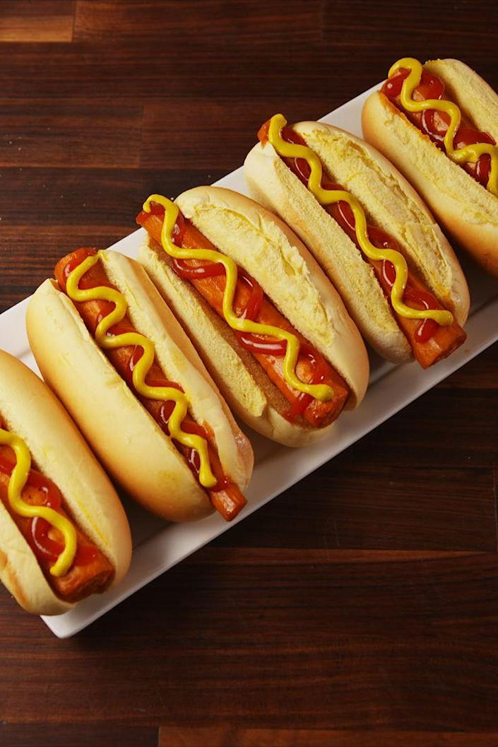 "<p>The vegan hot dog you've been asking for.</p><p>Get the recipe from <a href=""https://www.delish.com/cooking/recipe-ideas/recipes/a56149/carrot-hot-dogs-recipe/"" rel=""nofollow noopener"" target=""_blank"" data-ylk=""slk:Delish"" class=""link rapid-noclick-resp"">Delish</a>. </p>"