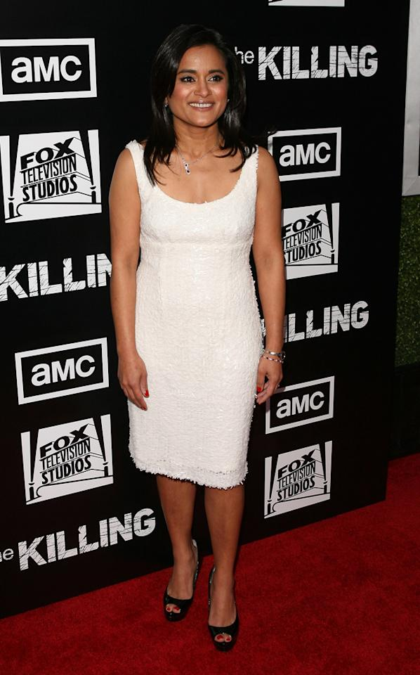 "Writer Veena Sud attends AMC's ""<a target=""_blank"" href=""http://tv.yahoo.com/killing/show/46787"">The Killing</a>' Season 2 Los Angeles Premiere at ArcLight Cinemas on March 26, 2012 in Hollywood, California."