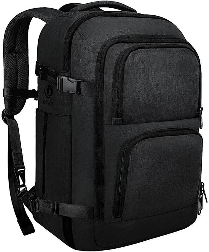 """<h2>Dinictis 40L Carry On Laptop Backpack</h2><br><br><strong>Dinictis</strong> 40L Carry On Laptop Backpack, $, available at <a href=""""https://www.amazon.com/Dinictis-Approved-Backpack-Water"""" rel=""""nofollow noopener"""" target=""""_blank"""" data-ylk=""""slk:Amazon"""" class=""""link rapid-noclick-resp"""">Amazon</a>"""