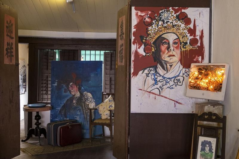 Chinese opera artwork by Thomas Powell at his gallery on Armenian Street in Penang.