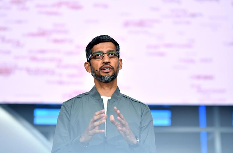 Google CEO Sundar Pichai speaks during the Google I/O keynote session at Shoreline Amphitheatre in Mountain View, California on May 7, 2019. (Photo by Josh Edelson / AFP) (Photo credit should read JOSH EDELSON/AFP/Getty Images)