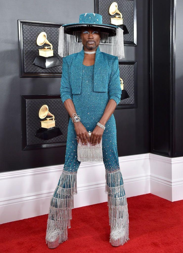 <p>Porter at the 62nd annual Grammy Awards in a shimmering blue bodysuit, matching bolero, and wide-brim hat with retractable chain tassels at the edge. </p>