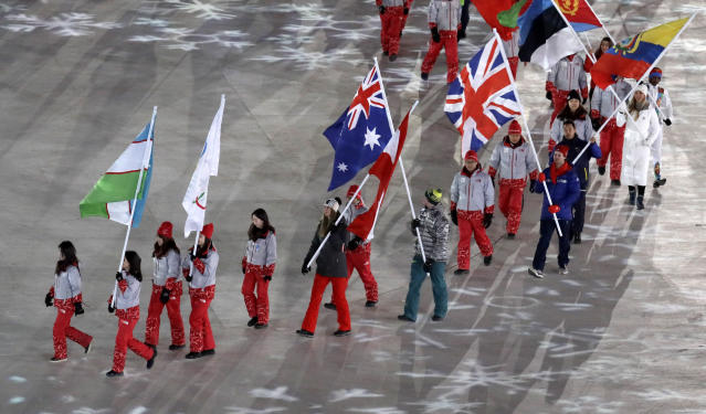 <p>Athletes walk into the stadium during the closing ceremony of the 2018 Winter Olympics in Pyeongchang, South Korea, Sunday, Feb. 25, 2018. (AP Photo/Aaron Favila) </p>