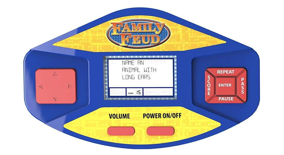 <p>He'll stay busy for hours playing the <span>Family Feud Game</span> ($22).</p>
