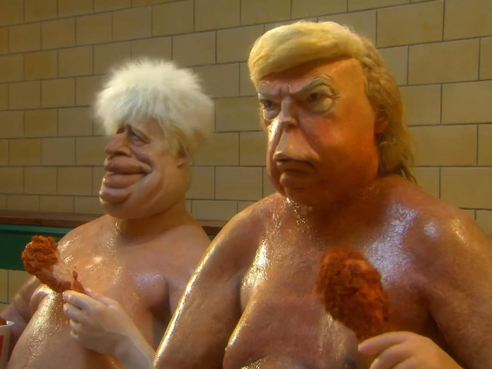Puppets representing Donald Trump and Boris Johnson are depicted eating fried chicken in a saunaBritBox