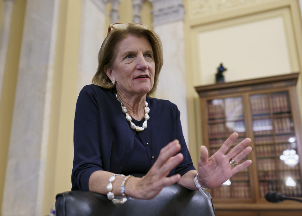 Sen. Shelley Moore Capito, R-W.Va., the GOP's lead negotiator on a counteroffer to President Joe Biden's infrastructure plan, attends a Senate Environment and Public Works Committee markup at the Capitol in Washington, Wednesday, May 26, 2021. The administration and Republican senators remain far apart over the size and scope of the investment needed to reboot the nation's roads, bridges and broadband. (AP Photo/J. Scott Applewhite)