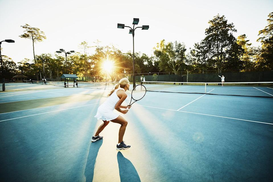 """<p><a href=""""https://www.popsugar.com/fitness/Best-Tennis-Clothes-Women-44751996"""" class=""""link rapid-noclick-resp"""" rel=""""nofollow noopener"""" target=""""_blank"""" data-ylk=""""slk:Do it for the outfit"""">Do it for the outfit</a> or do it for the sweat. Whatever your motivation, a healthy dose of competition on the court will keep your body and mind healthy for years to come. In fact, research has shown that regular participation in this lifelong sport can <a href=""""https://www.ncbi.nlm.nih.gov/pmc/articles/PMC4926036/"""" class=""""link rapid-noclick-resp"""" rel=""""nofollow noopener"""" target=""""_blank"""" data-ylk=""""slk:significantly decrease anxiety and depression"""">significantly decrease anxiety and depression</a>. BRB, signing up for tennis lessons.</p>"""