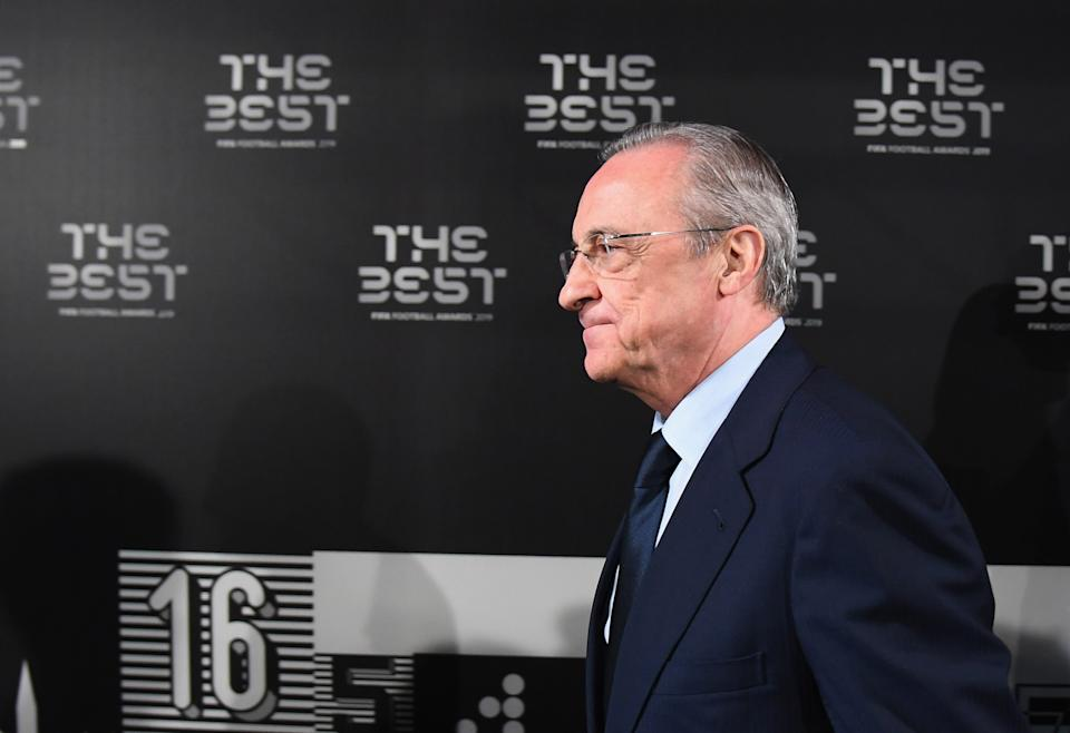 MILAN, ITALY - SEPTEMBER 23:  Florentino Pérez Rodríguez, president of Real Madrid, attends The Best FIFA Football Awards 2019 at the Teatro Alla Scala on September 23, 2019 in Milan, Italy.  (Photo by Claudio Villa/Getty Images)
