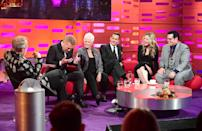 (From the left) Graham Norton, Sir Kenneth Branagh, Dame Judi Dench, Johnny Depp, Michelle Pfeiffer and Josh Gad appearing on the Graham Norton Show filmed at the London Studios, London. (Photo by Ian West/PA Images via Getty Images)