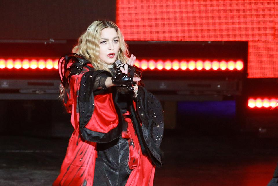 MACAU - FEBRUARY 20:  (CHINA OUT) America singer Madonna performs onstage during her concert Rebel Heart Tour on February 20, 2016 in Macau, China.  (Photo by Visual China Group via Getty Images/Visual China Group via Getty Images)