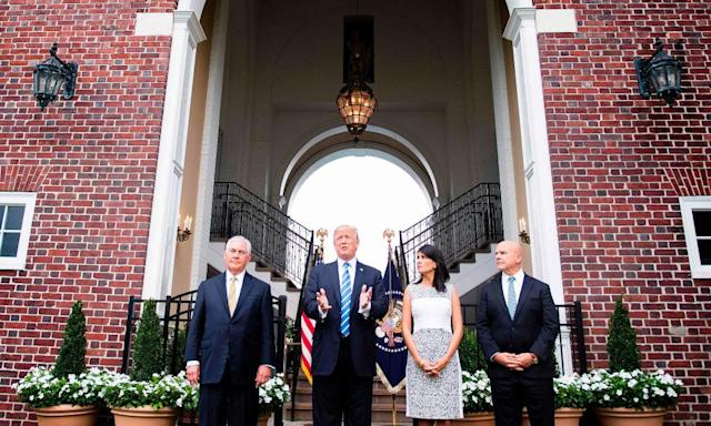 """<span class=""""element-image__caption"""">Donald Trump speaking to the press with the secretary of state, Rex Tillerson, left, UN ambassador, Nikki Haley and national security adviser, HR McMaster, on 11 August 2017, at Trump National Golf Club in Bedminster, New Jersey. </span> <span class=""""element-image__credit"""">Photograph: Jim Watson/AFP/Getty Images</span>"""
