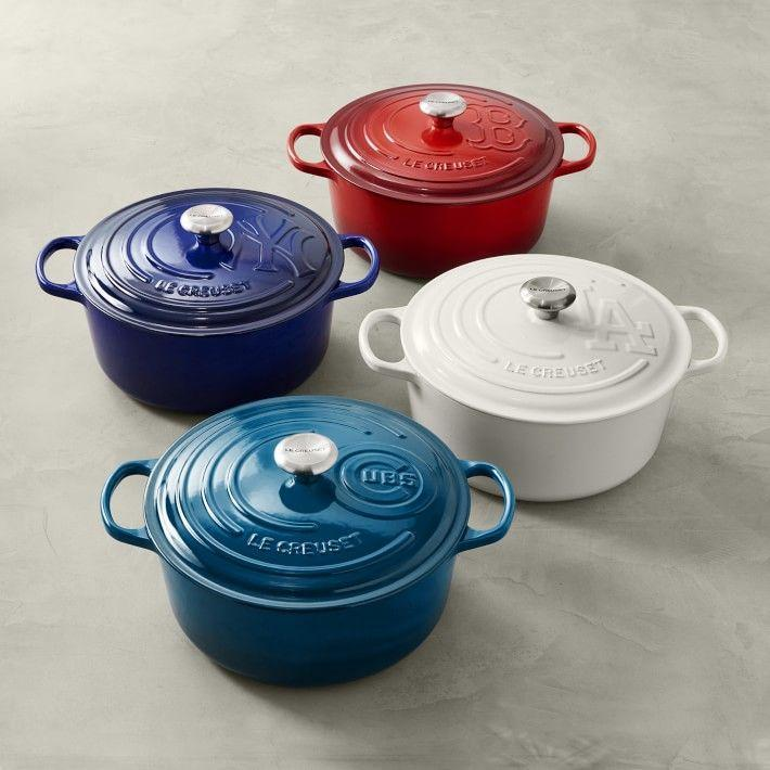 """<p><strong>Le Creuset</strong></p><p>williams-sonoma.com</p><p><strong>$450.00</strong></p><p><a href=""""https://go.redirectingat.com?id=74968X1596630&url=https%3A%2F%2Fwww.williams-sonoma.com%2Fproducts%2Fle-creuset-enamled-cast-iron-signature-oven&sref=https%3A%2F%2Fwww.goodhousekeeping.com%2Fholidays%2Ffathers-day%2Fg32369331%2Ffathers-day-gifts-from-wife%2F"""" rel=""""nofollow noopener"""" target=""""_blank"""" data-ylk=""""slk:Shop Now"""" class=""""link rapid-noclick-resp"""">Shop Now</a></p><p>Really, this gift is a collector's item for any baseball lover: Here, the lid of Le Creuset's dutch oven comes embossed with his team's MLB logo — as long as he's a Boston Red Sox, New York Yankees, Los Angeles Dodgers or Chicago Cubs fan. </p>"""