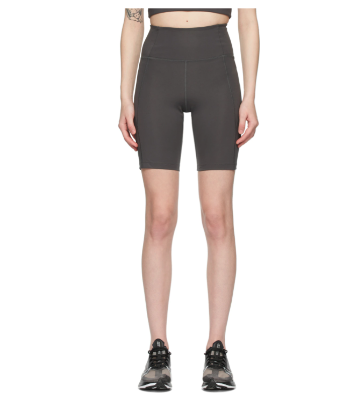 Girlfriend Collective Grey High-Rise Bike Shorts. Image via SSENSE.