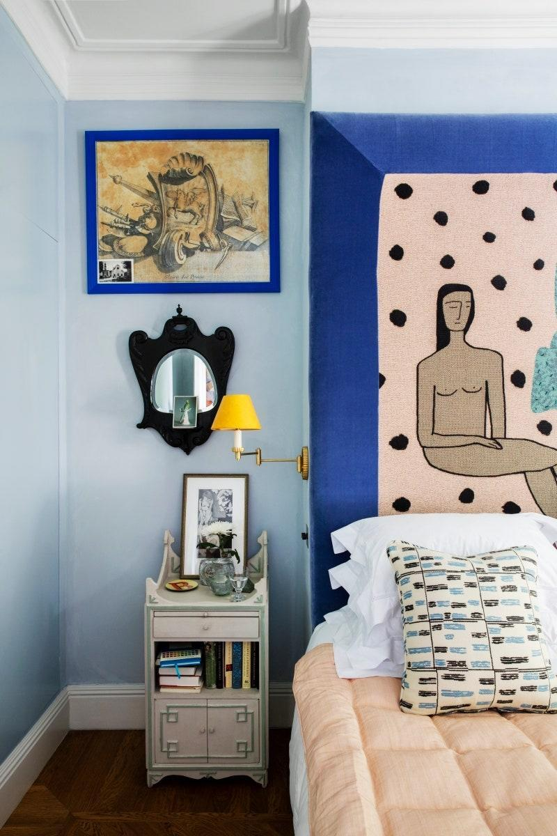 Beata Heuman's London house features a headboard made with a BFGF blanket.