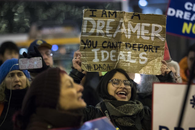 "<p>Activists rally for the passage of a ""clean"" Dream Act, one without additional security or enforcement measures, outside the New York office of Sen. Chuck Schumer, Jan.10, 2018, in New York City. (Photo: Drew Angerer/Getty Images) </p>"