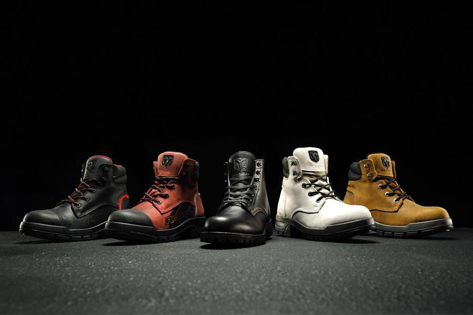 The Wolverine x Ram collection: (l-r) Rebel in black and brown, Limited 1000 Mile Boot, Tradesman in white and brown. - Credit: Courtesy of Wolverine