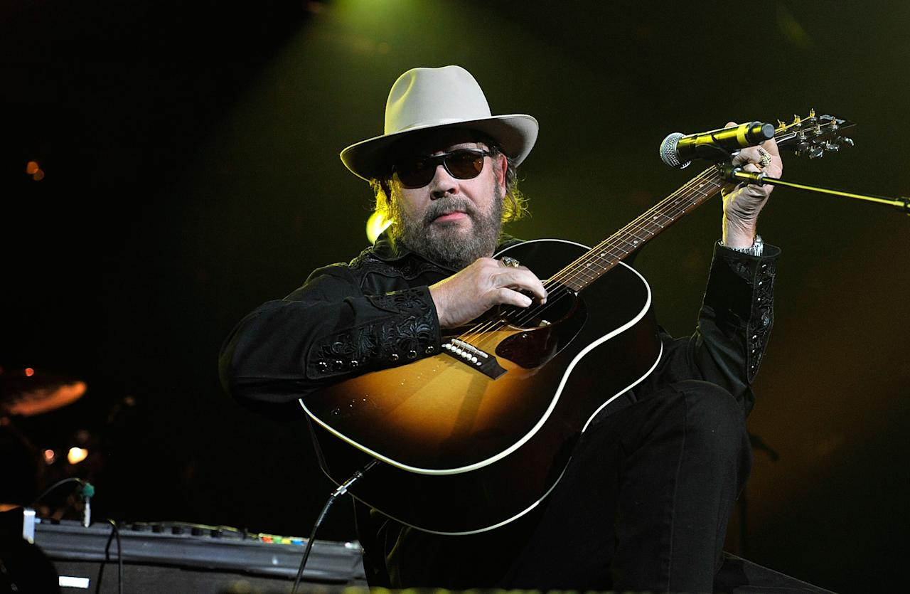NASHVILLE, TN - APRIL 16:  Hank Williams, Jr. performs during Keith Urban's Fourth annual We're All For The Hall benefit concert at Bridgestone Arena on April 16, 2013 in Nashville, Tennessee.  (Photo by Frederick Breedon IV/Getty Images for the Country Music Hall of Fame and Museum)