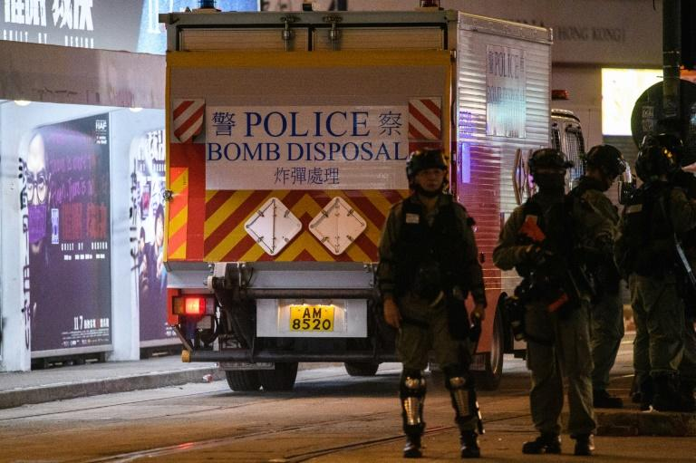 Bomb disposal officers have disabled two homemade nail bombs at a school in Hong Kong