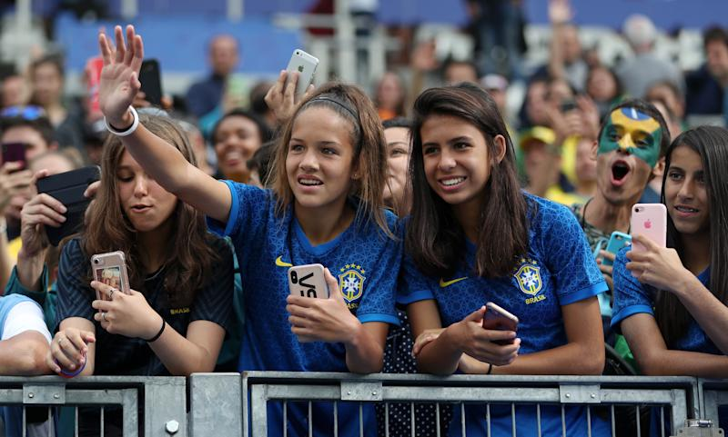 GRENOBLE, FRANCE - JUNE 09: Fans enjoy the match during the 2019 FIFA Women's World Cup France group C match between Brazil and Jamaica at Stade des Alpes on June 09, 2019 in Grenoble, France. (Photo by Naomi Baker - FIFA/FIFA via Getty Images)