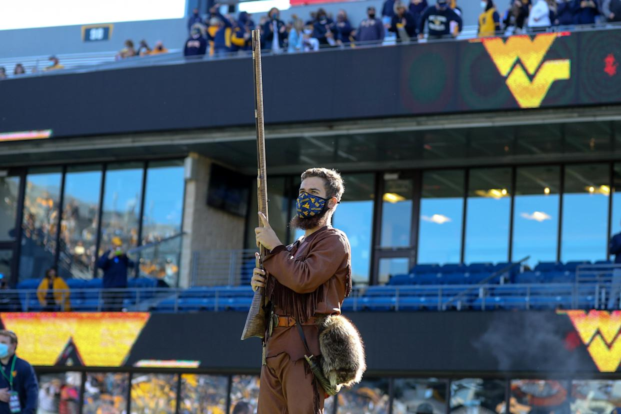 MORGANTOWN, WV - OCTOBER 17: The West Virginia Mountaineers mascot The Mountaineer prepares to lead the Mountaineers onto the field for the college football game between the Kansas Jayhawks and the West Virginia Mountaineers on October 17, 2020, at Mountaineer Field at Milan Puskar Stadium in Morgantown, WV. (Photo by Frank Jansky/Icon Sportswire via Getty Images)