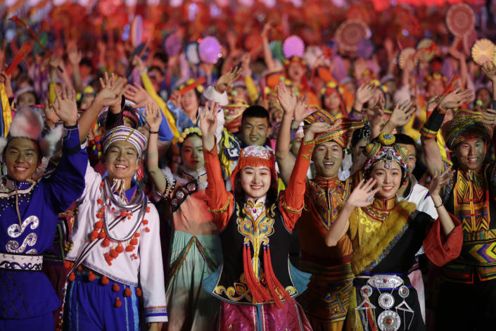 Performers take part in the evening gala marking the 70th founding anniversary of People's Republic of China, on its National Day in Beijing, China October 1, 2019. (Photo: Jason Lee/Reuters)