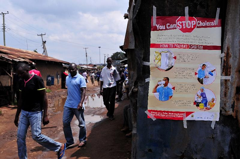 A cholera prevention poster in Nairobi on May 20, 2015