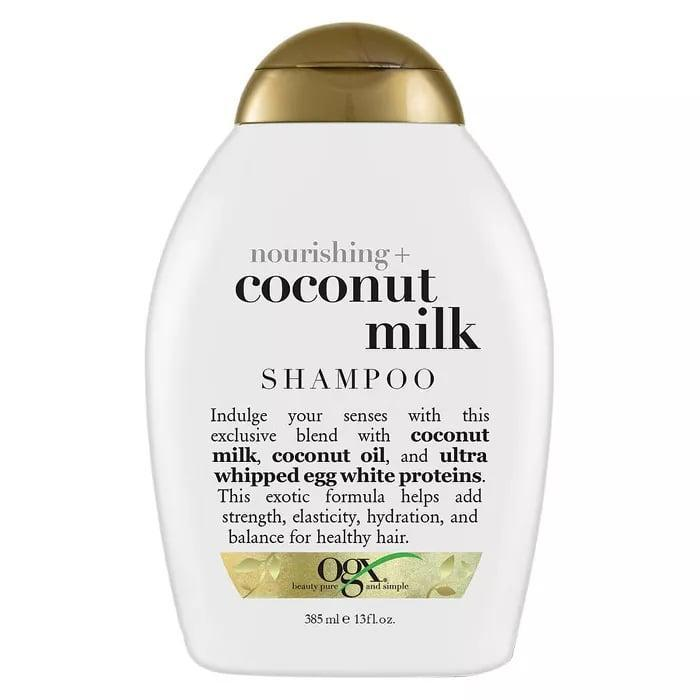 <p>On days that I do shampoo, I like to go in with the <span>OGX Nourishing Coconut Milk Shampoo</span> ($6) - and I generally follow it with the cleansing conditioner noted above. It uses a sulfate-free formula with coconut milk and coconut oil to clean the hair without ever feeling too drying or harsh on my hair.</p>