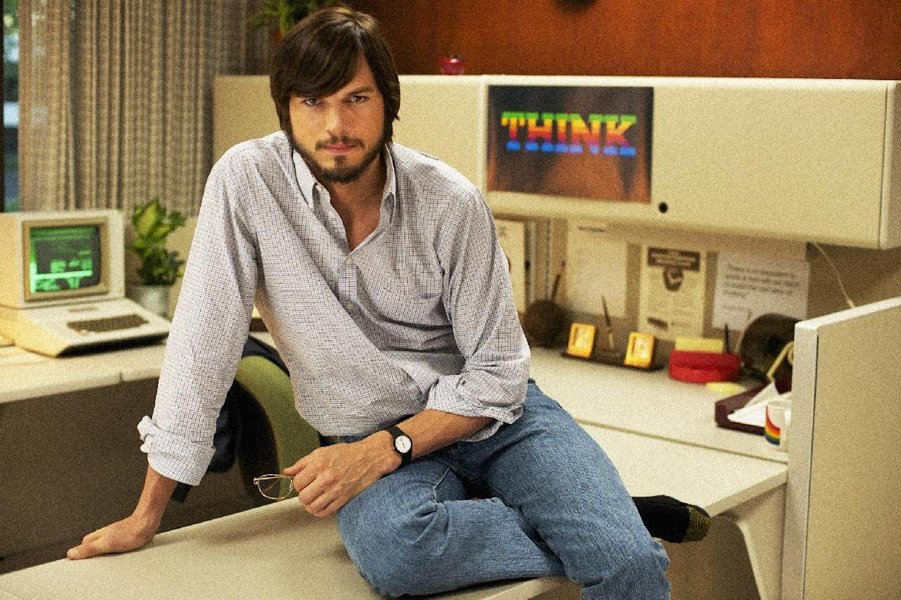 """This undated publicity photo released by the Sundance Institute shows Ashton Kutcher as Steve Jobs in the film, """"jOBS,"""" directed by Joshua Michael Stern. The Sundance Film Festival begins Thursday, Jan. 17, 2013, in Park City, Utah. This year's lineup of 119 feature films includes, Ashton Kutcher as Apple co-founder Steve Jobs in director Joshua Michael Stern's film biography """"jOBS""""; Amanda Seyfried as porn star Linda Lovelace in Rob Epstein and Jeffrey Friedman's """"Lovelace""""; Daniel Radcliffe as Allen Ginsberg in John Krokidas' beat-poet story """"Kill Your Darlings""""; and Ethan Hawke and Julie Delpy in Richard Linklater's """"Before Midnight,"""" a follow-up to """"Before Sunrise"""" and """"Before Sunset,"""" among others. (AP Photo/Sundance Institute, Glen Wilson)"""