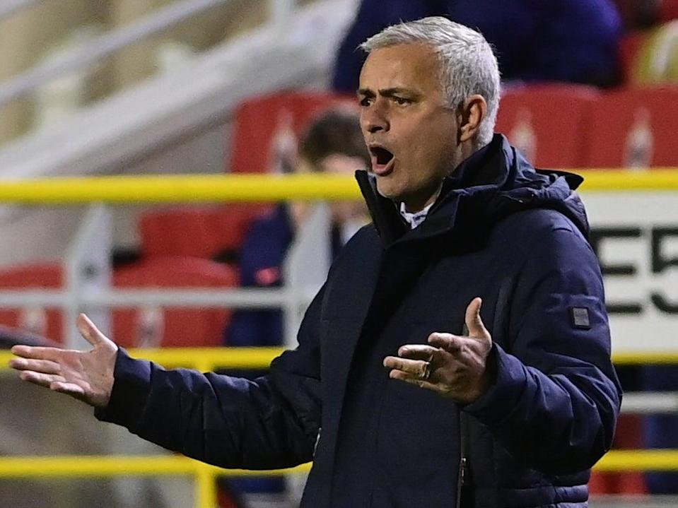 Jose Mourinho reacts during the match against Antwerp (Getty)