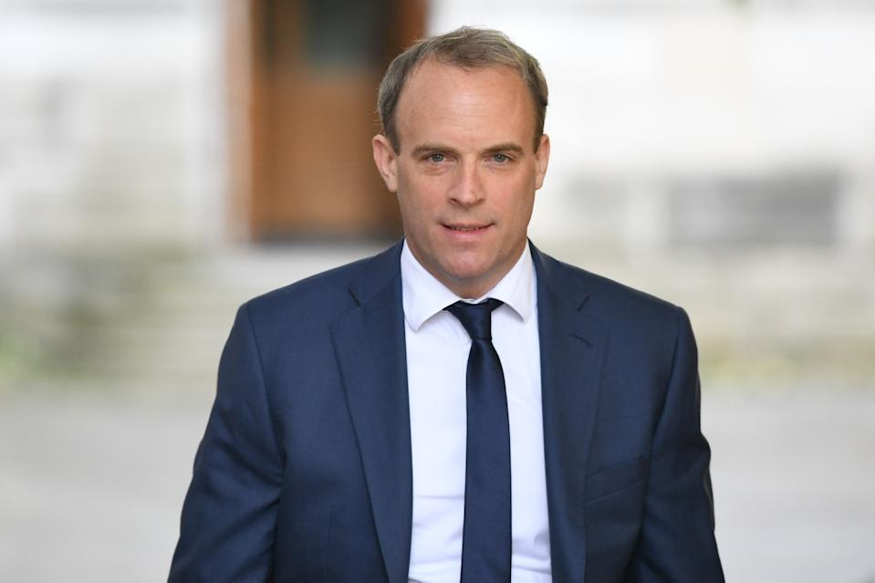 Foreign Secretary Dominic Raab in Downing Street, London, as the row over Prime Minister Boris Johnson's top aide Dominic Cummings' Durham trip continues.