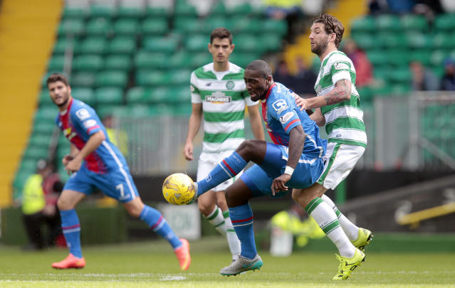 "Football - Celtic v Inverness Caledonian Thistle - Ladbrokes Scottish Premiership - Celtic Park - 15/8/15 Celtic's Charlie Mulgrew (R) in action Action Images via Reuters / Graham Stuart Livepic EDITORIAL USE ONLY. No use with unauthorized audio, video, data, fixture lists, club/league logos or ""live"" services. Online in-match use limited to 45 images, no video emulation. No use in betting, games or single club/league/player publications. Please contact your account representative for further details."