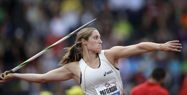 Kara Patterson competes in the women's javelin qualifying round at the U.S. Olympic Track and Field Trials Friday, June 29, 2012, in Eugene, Ore. (AP Photo/Matt Slocum)