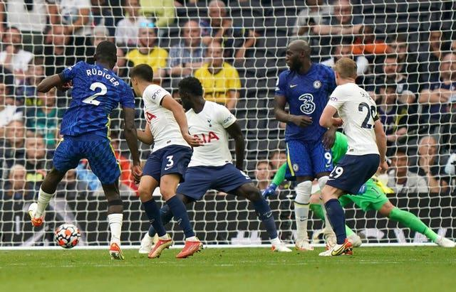 Antonio Rudiger was a surprise scorer for Chelsea in their impressive 3-0 win at Tottenham which keeps them joint-top of the Premier League
