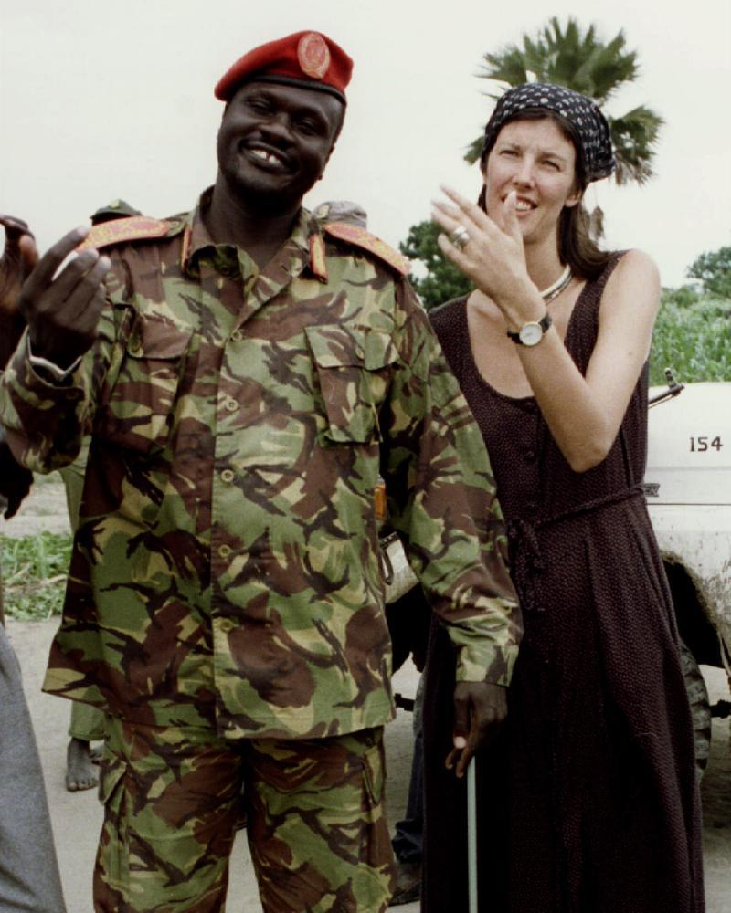 Machar with his wife, the British aid worker Emma McCune, who was killed in a road accident in 1993.