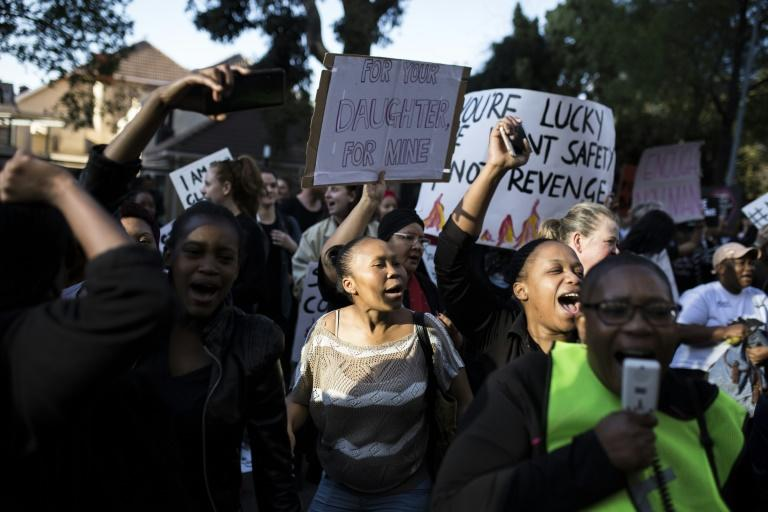 Protesters rallied outside Johannesburg Stock Exchange