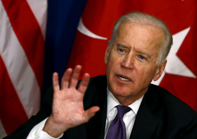 FILE PHOTO: U.S. Vice President Joe Biden gestures as he meets with representatives of civil society in Istanbul