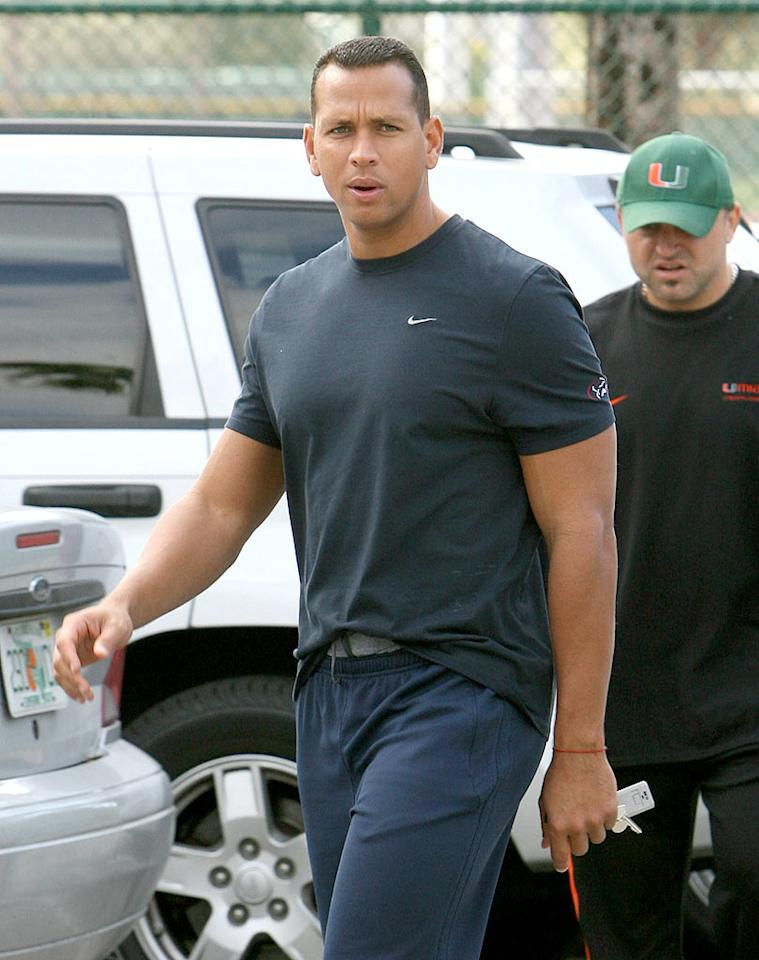 "Alex Rodriguez was spotted going to a Miami gym Tuesday, one day after admitting in an ESPN interview that he took performance-enhancing drugs while playing for the Texas Rangers in 2001. <a href=""http://www.infdaily.com"" target=""new"">INFDaily.com</a> - February 10, 2009"